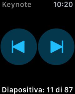 """I pulsanti """"Avanti"""" e """"Indietro"""" su Keynote per Apple Watch"""