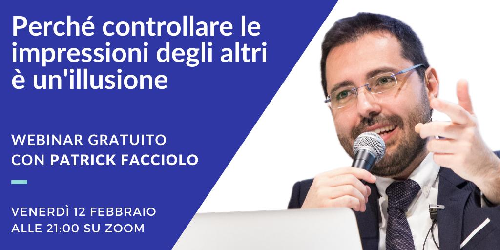 Ultimi posti disponibili per il webinar gratuito con Patrick Facciolo